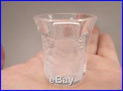 10 Ten Vintage Lalique France Crystal Cherub Angel Enfants Shot Glass Set