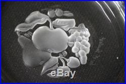 12pc Set Vintage Val St Lambert Crystal BRUSSELS Intaglio Fruit 6 Shallow Bowls