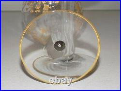 1930's HOLLOW STEM CAMBRIDGE PORTIA GOLD ETCH COUPE CHAMPAGNE GLASS-SET two