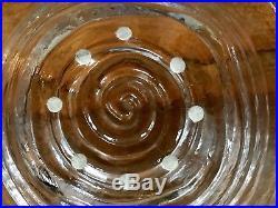 2 Stunning Simon Pearce Thetford Spiral Swirl Glass Centerpiece Bowls Rare Set