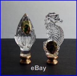 2 WATERFORD LAMP FINIALS set / SEAHORSE & ACORN (crystal) NEW / Box