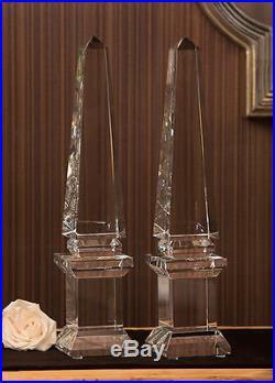 21''h Fabulous Crystal Pedestal Obelisks Finial, Set Of 2