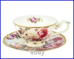 24-pc Euro Porcelain Tea Cup Coffee Set 24K Gold Vintage Dining Service for 6