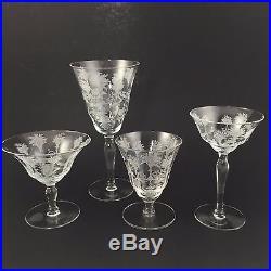 26 PC SET! Morgantown Glass Mayfair Etched Crystal 7668 Stem Cocktail Goblet