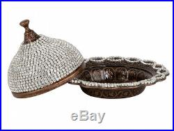 27 Pc Turkish Coffee Cups Saucers Lids Bowl Tray Set, Decorated with Crystals