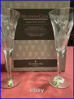 (2Pcs Set)Waterford Crystal TOASTING FLUTES Millennium Collection Glasses