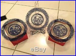 3 Sets E715 Willow Etch-Blue Enamel Encrusted/Gold Trim-Plates & Cups/Saucers