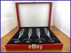 4 Cartier Crystal Champagne Flutes Glasses Set 9 3/8 In Box