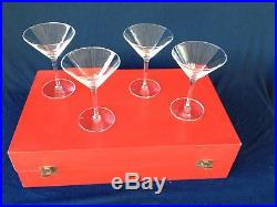 4 Cartier Crystal Classic Martini Glasses Set in original red box never used