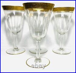 4 Set Encrusted Austrian Gold Rimmed Wine Glasses 1910-1920 Crystal 6 3/4 8 oz