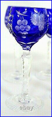 6 Bohemian German/Czech Hand Cut Crystal Shot Glass Set