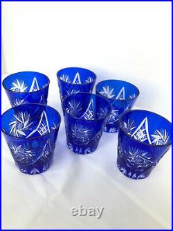 6 COBALT BLUE CRYSTAL Hand Cut WHISKEY or JUICE TUMBLERS Original Hungarian Set