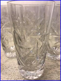 ABP American Brilliant Cut Glass Crystal 5.5Tumblers Set Of 10 RARE