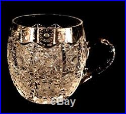 ABP Cut Crystal 13PUNCH BOWL SET With 11 CUPS with Handles. HARVARD PATTERN. Antique