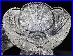 ABP Meriden 161 American Brilliant Period Punch Bowl Set Crystal