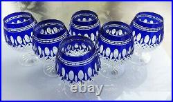 AJKA CRYSTAL CLARENDON WATERFORD DESIGN Cobalt Brandy goblet set with gift box