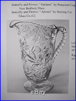 AMERICAN BRILLIANT CUT GLASS CRYSTAL ANTIQUE PAIRPOINT PITCHER SET 1900S ABP