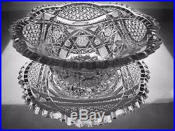 AMERICAN BRILLIANT CUT GLASS CRYSTAL ANTIQUE WHIPPED CREAM BOWL PLATE SET ABP