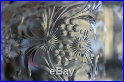 ANTIQUE SET 3 VASES ROCK SHARPE CUT GLASS INTAGLIO ENGRAVED flowers & leaves