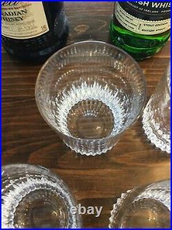 ATLANTIS Cut Crystal Double Old Fashion SET of 4 Glasses Whiskey Chalice Signed