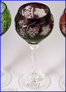 Ajka Crystal Hock Wine Glasses MARSALA Cut to Clear Multi color set of 4 Hungary