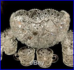 American Brilliant Cut Glass Crystal Complete Punch Bowl Set 18 Cups-Hobstars
