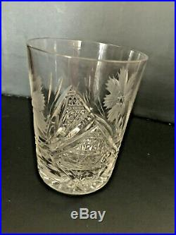 American Brilliant Period Cut Glass ABP Pitcher 6 Matching Glasses Set Crystal