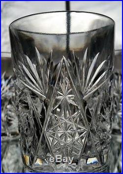Antique American Brilliant Cut Crystal Pitcher & 5 Glasses Set ABP Antique
