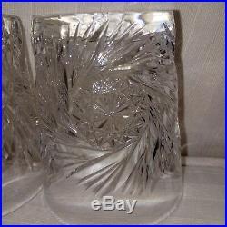 Antique American Brilliant Period Cut Crystal 8 oz Rock Glasses Set of 4