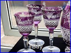 Antique Amethyst Rare Crystal Glass Decanter Wine Goblets Set whisky brandy jug