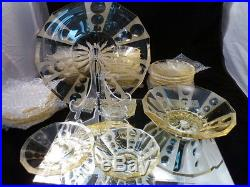Antique Cut Glass Old Crystal Vintage Set Of 26 Pieces Moser Yellow