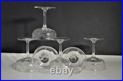 Antique Etched Stemmed Crystal Champagne Glasses Swag Baskets Pattern Set of 6