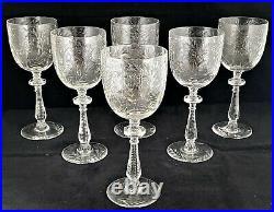 Antique Set 6 Libbey Rock Sharpe Paisley Steam 1015 Water Wine Goblets