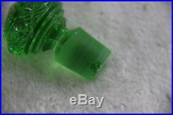 Antique Val Saint Lambert 8 Piece Apple Green Crystal Glass vanity Dresser Set