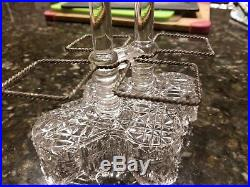 Antique Victorian Opalescent Glass Shaker Set Of 4 With Crystal Caddy Rare
