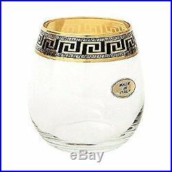 ArtDecor Greek Key, 11 Oz Stemless Wine Glasses Crystal Decanter Set, 24K Gold