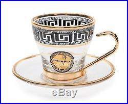 ArtDecor Greek Key, 12-pc'Deborah' Espresso Coffee Set, 4 Oz Crystal Cup Saucer