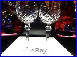 BEAUTIFUL SET 2 Waterford Crystal Powerscourt 7 1/2 Wine Hock Glasses Mint