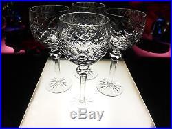 BEAUTIFUL SET 4 Waterford Crystal Powerscourt 7 1/2 Wine Hock Glasses Mint