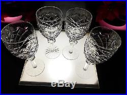 BEAUTIFUL SET 4 Waterford Crystal Powerscourt 7 1/8 Claret Wine Hock Glasses