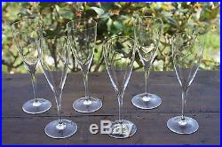 Baccarat Crystal clear Dom Perignon Set of 6 Water glasses Signed Mint
