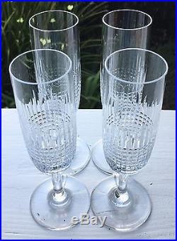 Baccarat Cut Crystal NANCY Set of 4 Champagne Flute Glasses France