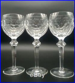 Beautiful Set of 3 Waterford Crystal Wine Hock Glasses in Curraghmore Pattern