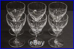 Beautiful Set of 6 Val St. Lambert Water Goblets 6 Crystal Glasses Signed Glass