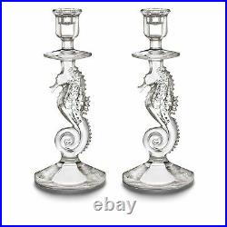 Brand New 12.5 Waterford Seahorse Pedestal Bowl And Candelsticks Set