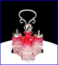 Brilliant Cut Crystal Rubina Jd & Co Silver Plate 5 Piece Condiment Set 1850-99