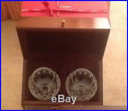 Cartier Crystal Brandy Set. 1990s Never Used With Wooden Box MIB England