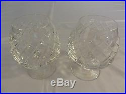 Cartier Crystal Brandy Snifters Set 1990s Never Used With Wooden Box MIB England