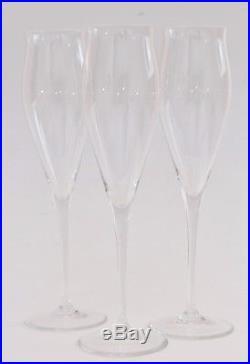 Cartier Crystal Champagne Glasses 3pc Set Tulip-Flared Stemware Barware VTG