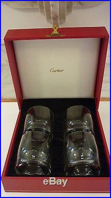 Cartier Crystal Double Old Fashion Tumblers Set/4 Unused In Presentation Box